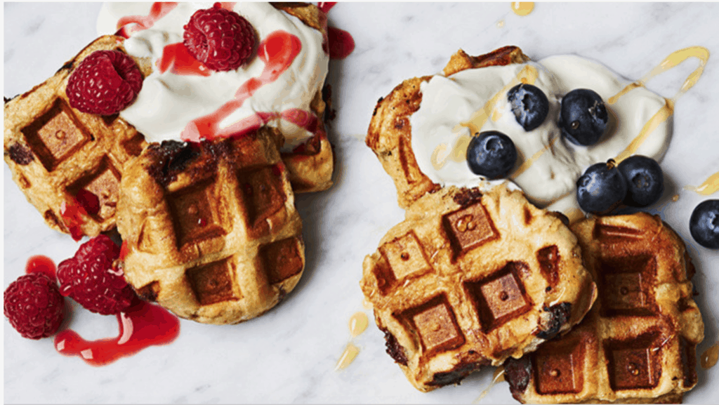 Waffles Made with Hot Cross Buns