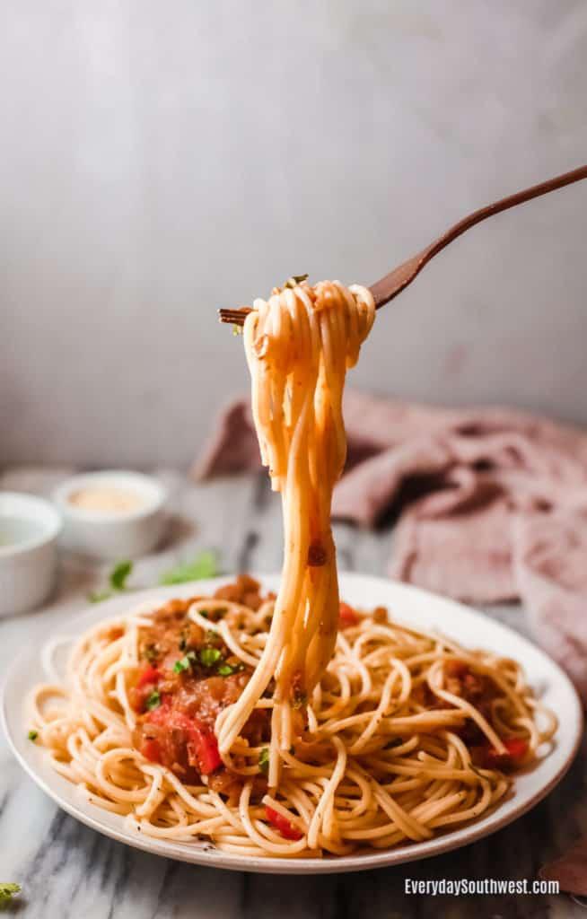 Mushroom Lentil Bolognese on Spaghetti