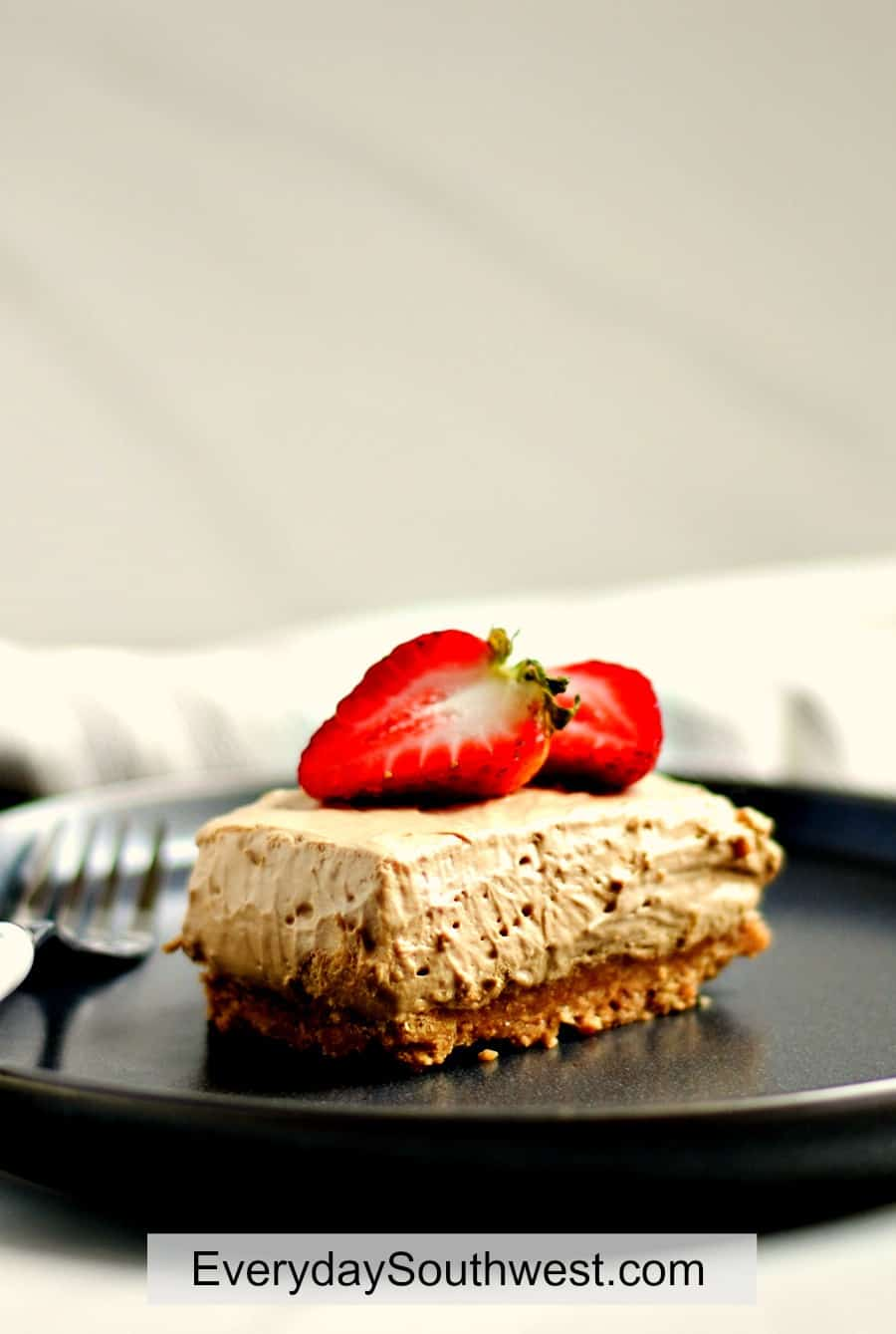 Whipped Coffee No Bake Cheesecake with Strawberries