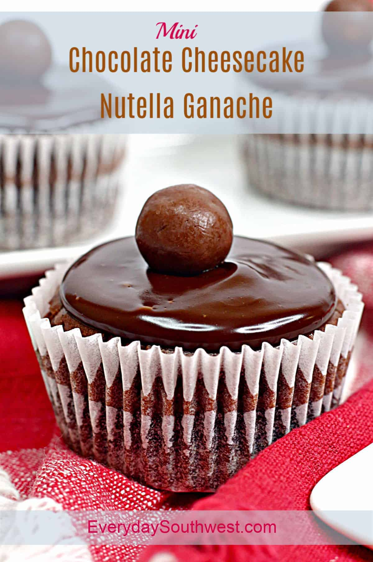 Mini Chocolate Cheesecakes with Nutella Ganache and Chocolate Cookie Crust