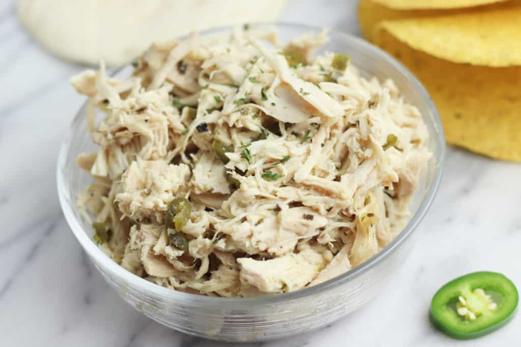 Mexican Shredded Chicken in the Slow Cooker with jalapeño lime and Southwest seasonings