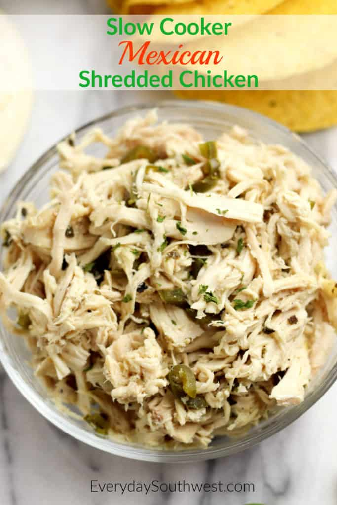 Mexican Shredded Chicken in the Slow Cooker is fast and easy tacos, burritos and more.