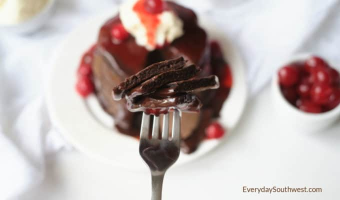 Double Chocolate Pancakes with Nutella Ganache and Cherry Sauce
