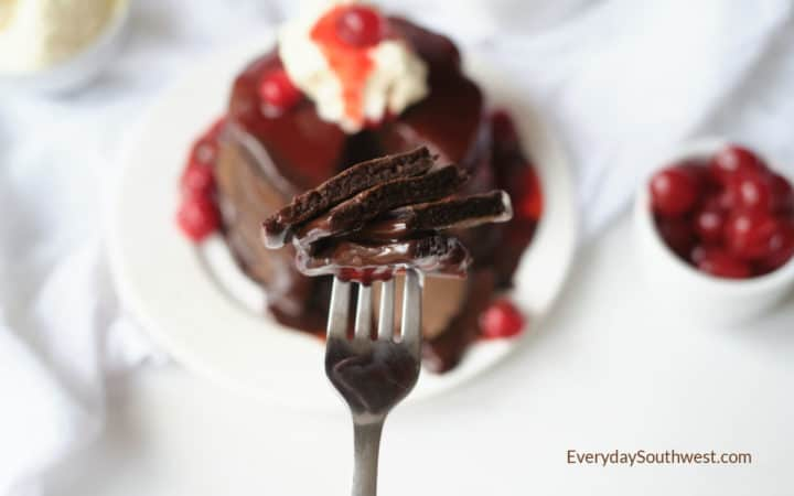 Double Chocolate Pancakes with Nutella Ganache and Cherry Sauce - Everyday Southwest